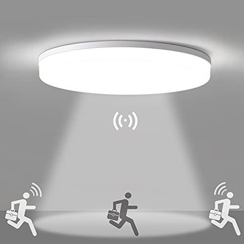 LED Deckenleuchte mit Bewegungsmelder, Oeegoo 18W 1800LM Deckenlampe mit Bewegungssensor (Einstellbar), IP44 Wasserfest Sensor lampe für Garage, Kellerräume, Flur, Eingangsbereich, Badezimmer Ø28cm