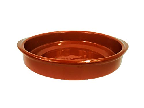 Cazuela de barro de 26 cm de diámetro. Apta para el Horno, Gas y vitrocerámica y para lavavajillas. Hecho en España a mano.