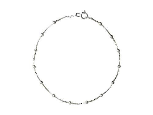 AKA Gioielli - Pulsera Mujer Plata De Ley Esterlina 925 - Cadena Fina de Eslabón Cuadrado con Bolas 2.5 mm - Longitud: 19 cm