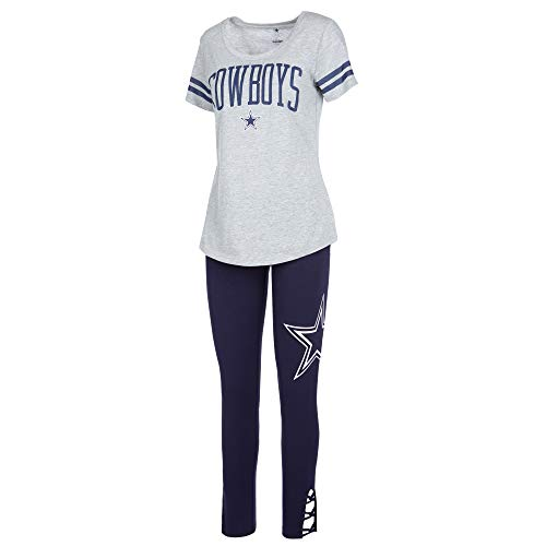 NFL Dallas Cowboys Womens Cecily Lounge Set, Heather Navy, Large