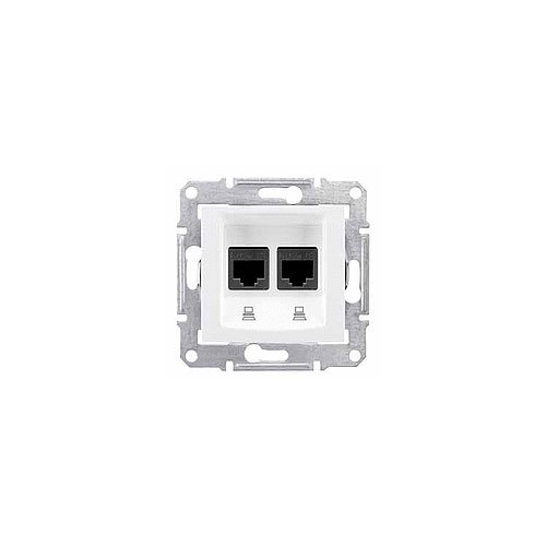 Schneider Electric SDN4800121 dubbel stopcontact RJ45, Cat 6, UTP, wit