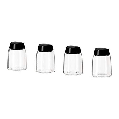 IKEA(イケア) IKEA 365+ IHARDIG スパイス瓶 ガラス ブラック 4 ピース
