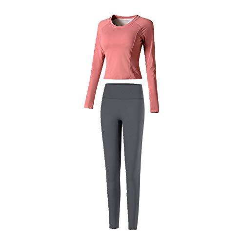 Traje de mujer de manga larga suéter deportivo cintura alta levantamiento de cadera pantalones de fitness traje de dos piezas
