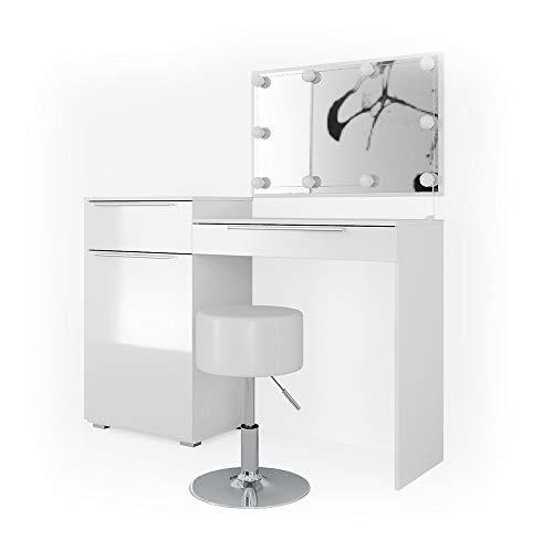 Vicco Schminktisch Little Lilli Frisiertisch Kommode Frisierkommode Spiegel Weiß inklusive Hocker und LED-Lichterkette
