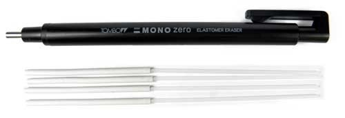 Tombow Mono Zero Präzisions-Radierer runde Spitze + 4 Ersatzradierer (Schwarz)