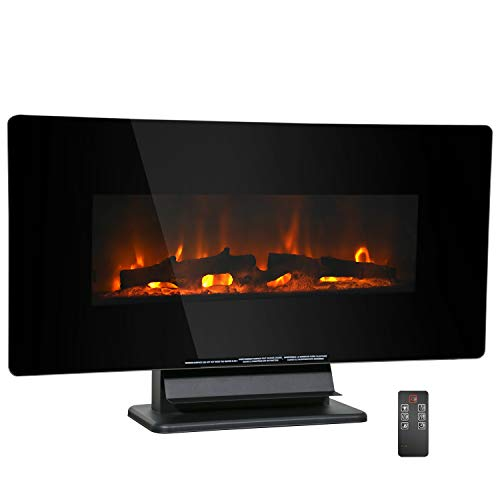 HCB Electric Fireplace 36 Inches,Wall Mounted Fireplace Heater 750 W / 1500 W Free Standing Space Heater with Adjustable Flame Color Speed, Remote Control Panel,for Living Room,Bedroom