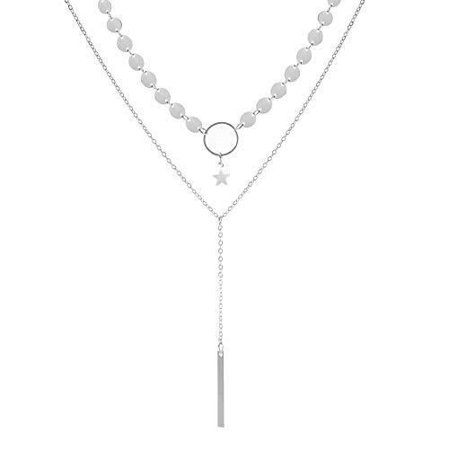 Collana semplice sexy con paillettes fatte a mano con catena a colletto con frange a stella