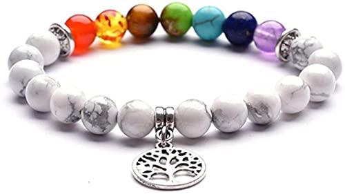 Pulsera china Pulsera hecha a mano Feng Shui 7 Chakra Gemstone Lava Rock Beads Pulsera Árbol de la vida Yoga Meditación Curación de la energía Pulsera Elasticidad robusta duradera atrae amulet