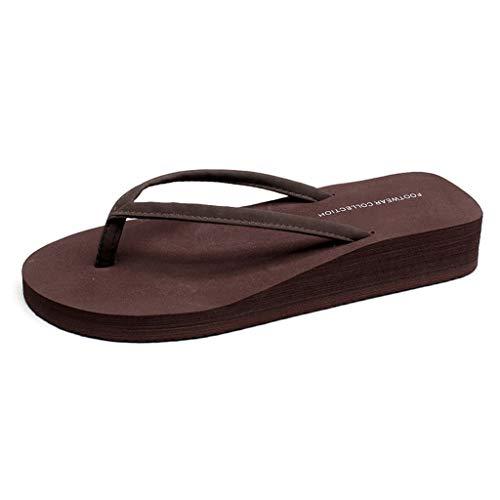 Mujer de Estilo Simple Flip-Flop Zapatillas de Playa de Verano Antideslizante Grueso de tirón Inferiores Flops Cómodo (Color : Brown, Size : 36)