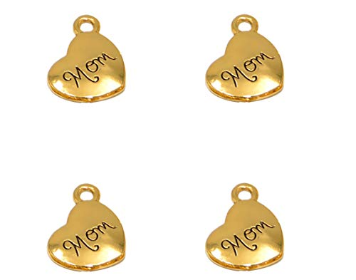 Yansanido Pack of 40 Alloy Antique Love Heart'mom'14x18mm Charms Pendants for Making Bracelet and Necklace (mom 40pcs Gold)