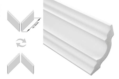 Zierleisten Sparpaket E-14-NK | inkl. vorgefertigte Ecken | leicht und stabil | extrudiertes Styropor | Stuckprofile | modern weiß | dekorativ | XPS | 50 x 50 mm | 20 Meter + 4 Ecken