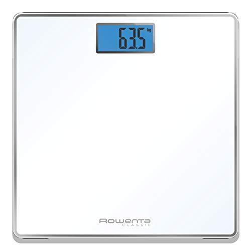 Rowenta Classic BS1501 - Báscula de baño con Pantalla LCD, Compacta, Capacidad de 160 kg, Plataforma de Vidrio y Apagado Automático que Incluye Pilas, color blanca