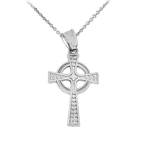 High Polish 14k White Gold Celtic Cross Pendant Necklace, 18'