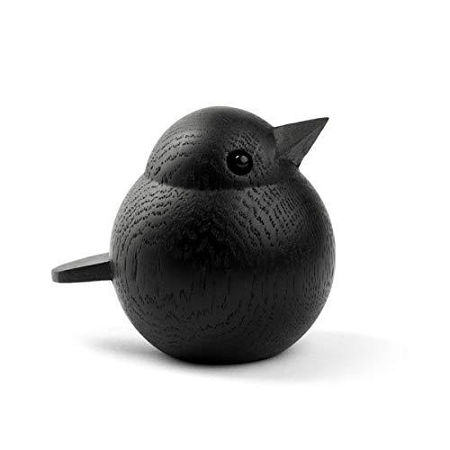 Novoform Design - Baby Sparrow - Dekofigur, Holzfigur - Spatz - Eichenholz, schwarz lackiert - Maße (LxBxH): 6,8 x 5,5 x 6 cm