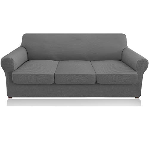 Granbest 4 Piece High Stretch Couch Covers for 3 Cushion Couch Thick Premium Sofa Slipcover Fitted Sofa Cover Furniture Protector for 3 Seat Sofas Dog Pet Proof Machine Washable (Large, Light Gray)