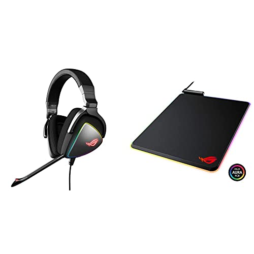 ASUS ROG Delta USB-C Gaming Headset & ROG Balteus RGB Gaming Mouse Pad - USB Port   Aura Sync RGB Lighting   Hard Micro-Textured Gaming-Optimized Surface & Nonslip Rubber Base