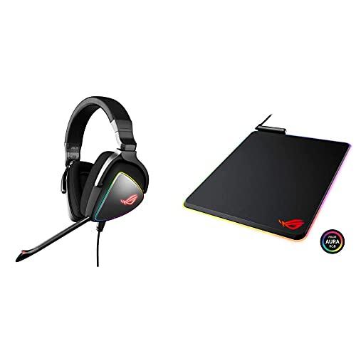 ASUS ROG Delta USB-C Gaming Headset & ROG Balteus RGB Gaming Mouse Pad - USB Port | Aura Sync RGB Lighting | Hard Micro-Textured Gaming-Optimized Surface & Nonslip Rubber Base