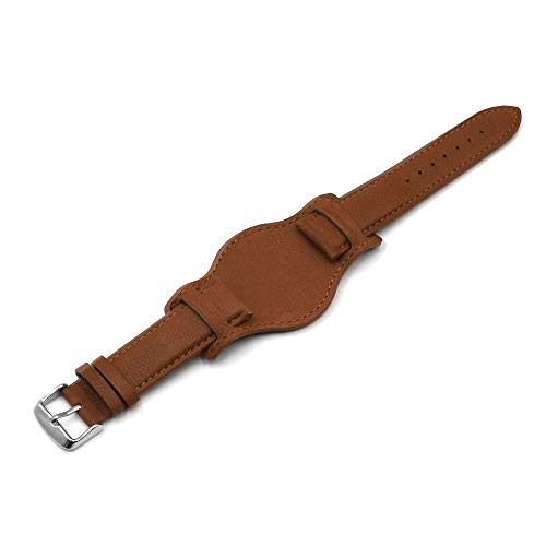 ZXF Correa Reloj 18 mm 20 mm 22 mm Correa de Reloj con cojín Black Brown Brown Pulsera de Cuero Reloj de Reloj de Hombre (Band Color : Brown, Band Width : 18mm)