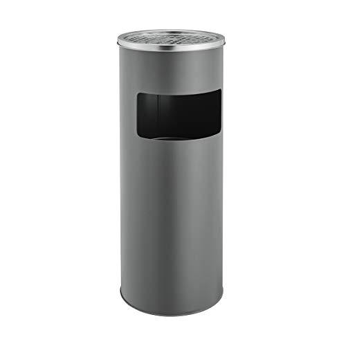SVITA Standaschenbecher 17 Liter mit Mülleimer Aschenbecher Abfalleimer mit Inneneimer (Grau)