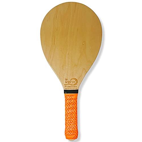 Frescobol Paddle, American Birch Wood Beach Paddle Ball Racket, Florida Orange Padded Grip. Made in USA.