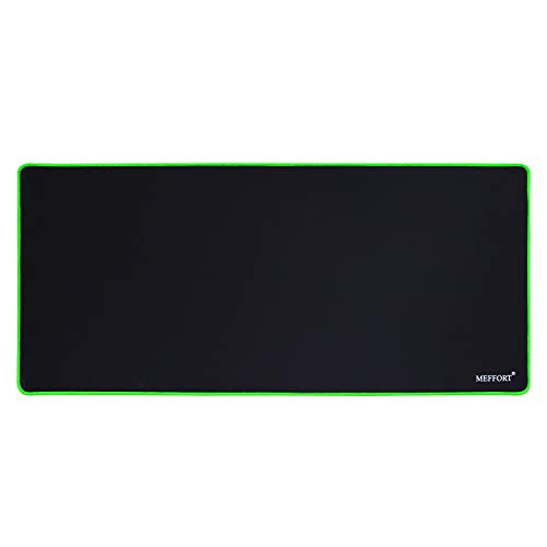 Meffort Inc Extra Large Extended XXL XXLG Gaming Desk Mat Non-Slip Rubber Pads Stitched Edges Mouse Pad 35.4 x 15.7 inch - Black with Green Edges
