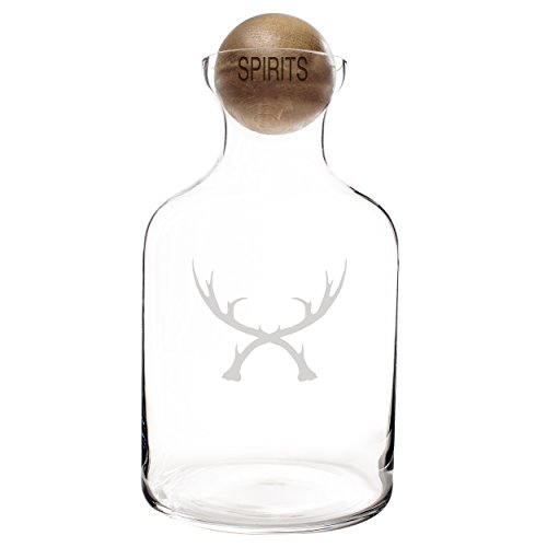 Cathy's Concepts Antlers Glass Decanter with Wood Stopper, Clear