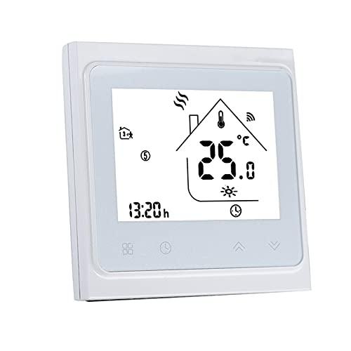 Qinyayoa Termostato Inteligente, termostato Duradero, Control Remoto WiFi Blanco para Control Termostato de calefacción de Suelo eléctrico Uso de Control de calefacción de Suelo eléctrico