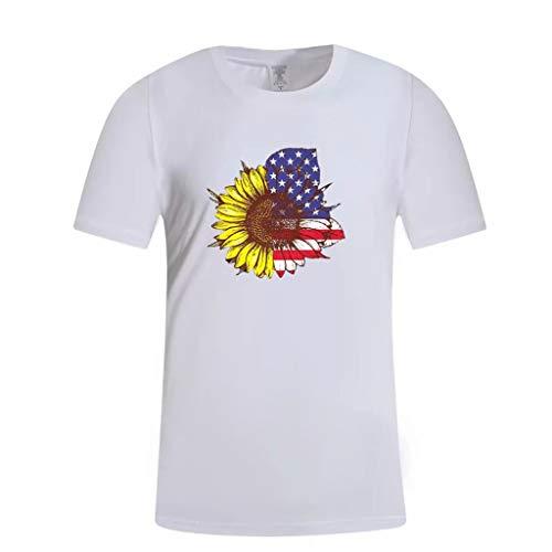Fenverk Herren 3D Cartoon Druck Bunt Galaxy Tier T-Shirt Sport Rundhals Spaß Motiv Tops Casual Hemd,Unisex T-Shirt 3D Drucken Sommer Beiläufige Grafik Kurzen Ärmeln(Weiß#02,XL)