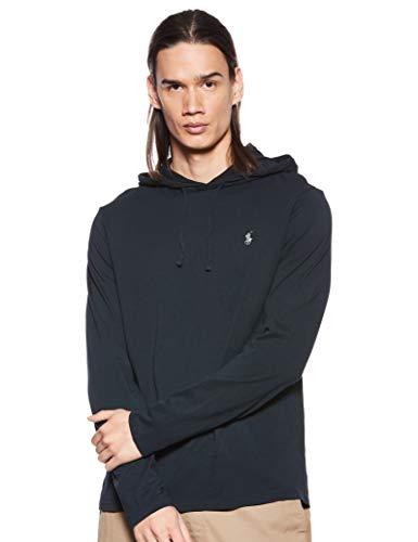 Polo Ralph Lauren Mens Jersey Knit Hoodie Tee (Polo Black, Medium)