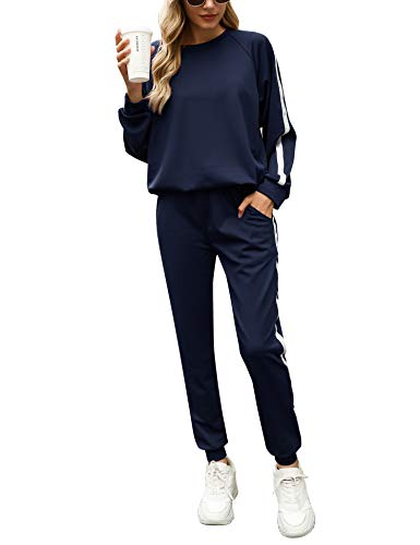 Irevial Damen Trainingsanzug, Zweiteilige Frauen Sportanzüge, Damen Sports Anzug für Jogging Training Casual Home Pyjamas