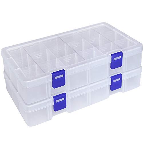 Qualsen Plastik Aufbewahrungsbox Einstellbar Fächer Sortimentskasten Schmuckschatulle Werkzeugcontainer (18 Raster X 2 Packungen, Transparent)