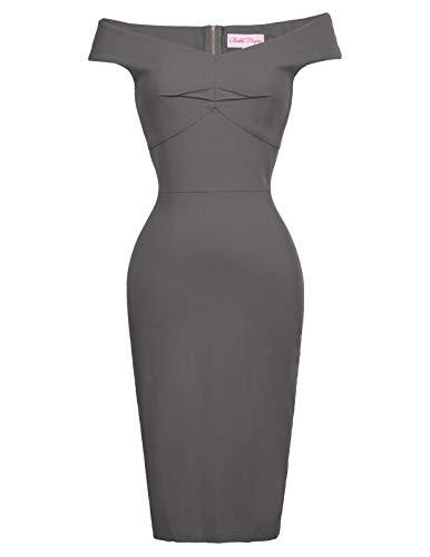Belle Poque Women Off Shoulder Wedding Guest Dress Knee Length Gray,XL BP387-7
