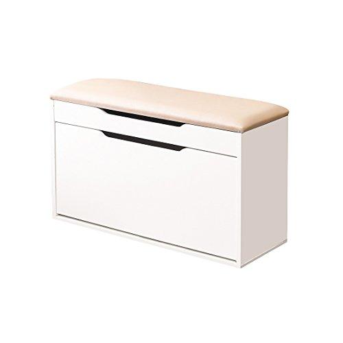 Weiju, scarpiera in legno con due cassetti, con seduta imbottita pieghevole, elegante e semplice, modello FMJ-FXT