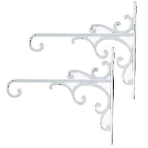Sungmor - Soportes para cestas de hierro fundido de alta resistencia, 29 cm y 2 unidades, ganchos decorativos de pared para comedero de pájaros, linternas, campanillas de viento, macetas colga