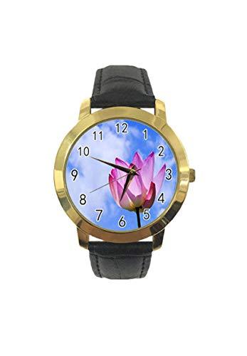 Lotus in The Sun - Reloj de pulsera analógico de cuarzo para hombre y mujer