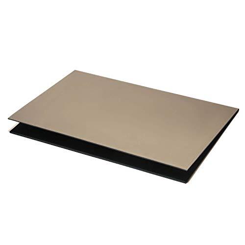 Eglooh - Gemini – Vade de escritorio abatible de piel gris pardo 50 x 35 cm – Vade de escritorio plegable con estructura de aluminio y costuras artesanales refinadas – Fabricado en Italia