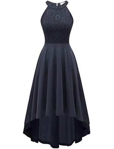 YOYAKER Damen 50er Vintage Rockabilly Kleid Neckholder Cocktailkleid Spitzen Vokuhila Festliche Party Abendkleider für Hochzeit Dark Grey L