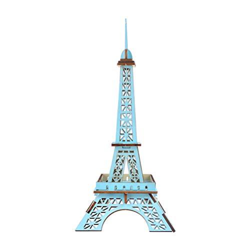 Exceart 3D Houten Eiffeltoren Puzzel Houten Architectuur Gebouw Puzzel Mechanisch Model DIY Montage Puzzel Puzzel Speelgoed Eiffeltoren Ornament (Blauw)