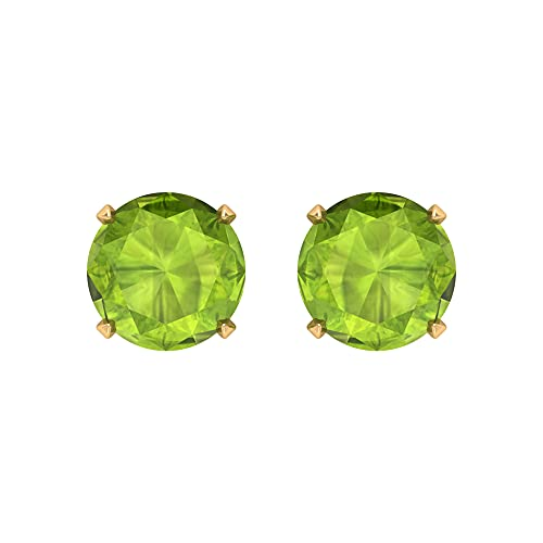 Rosec Jewels 14 quilates oro amarillo redonda Green Peridoto/Olivino