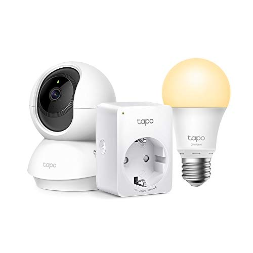 TP-Link Telecamera Wi-Fi Interno, Videocamera sorveglianza 1080P + Presa Intelligente WiFi Smart Plug + TP-Link Lampadina Wi-Fi E27