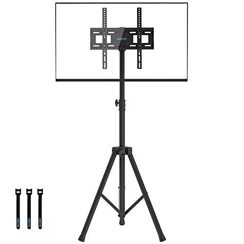 BONTEC TV Ständer Stativ TV Bodenständer Schwenkbar Neigbar Höhenverstellbar für 32-60 Zoll LCD LED OLED Plasma Flach & Curved Fernseher bis zu 45KG, max. VESA 400 x 400 mm