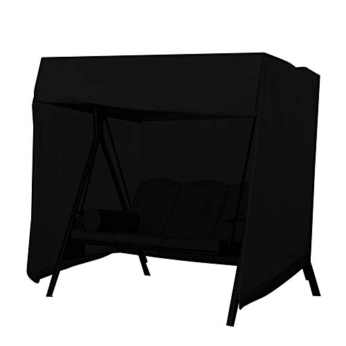 Swing Cover, Patio Outdoor Swing Covers, Waterproof Dustproof Porch Swing Canopy Covers (7.2 * 4.1 * 5.6 inch, Black)