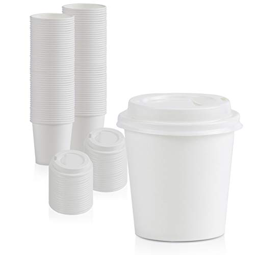 [100 Pack] 4 Oz Disposable White Paper Cups with White Lids - On the Go Hot and Cold Beverage All-Purpose Sampling Portion Cup for Coffee, Espresso, Cortado, Water, Juice and Tea, Food Grade Safe