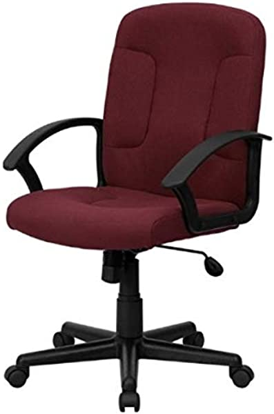Contemporary Executive Mid Back Computer Desk Task Chair Fabric Upholstery Seats Hydraulic Adjustable 360 Degree Swivel Home Office Dining Room Furniture 1 Burgundy 2117