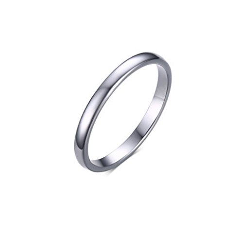 AnazoZ 2MM Silver Tungsten Wedding Ring for Women Classic Dome Wedding Band Engagement Ring Size N 1/2