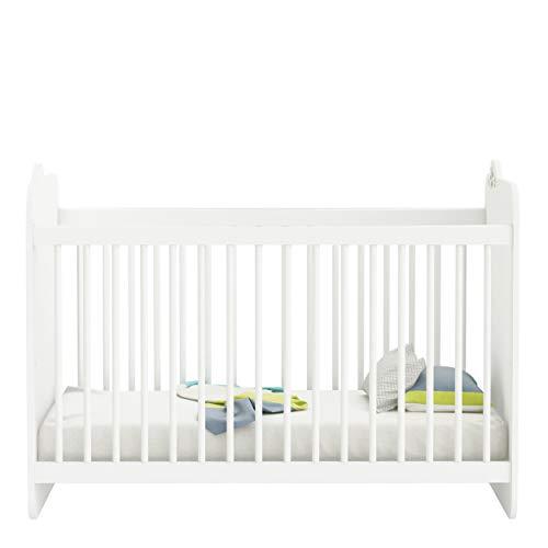 Demeyere – Kinderbett mit Gitterstäben matt 60 x 120 cm – weiche Formen für die Sicherheit des Kindes – Lattenrost 3-Fach höhenverstellbar – Kollektion Celeste
