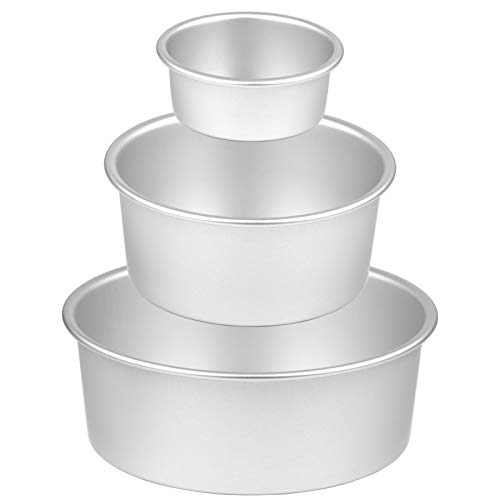 """8 Inch Cake Pan, McoMce 3 Pack (4""""/6""""/8"""") Round Cake Pans, Performance Aluminum, Nonstick & Leakproof Set with 8 Inch, 6 Inch and 4 Inch Cake Pan, Perfect for Tier Smash Cake, Non-Toxic & Healthy"""