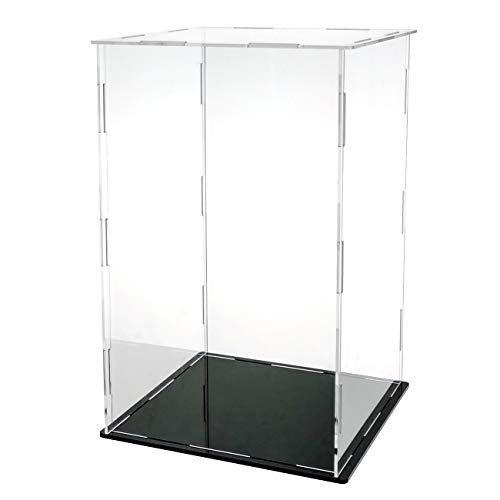 LANSCOERY Clear Acrylic Display Case Assemble Countertop Box Cube Organizer Stand Dustproof Protection Showcase for Action Figures Toys Collectibles (10x6x14 inch; 25x15x35 cm)