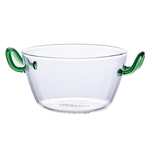 NOBGP Creative Clear Glass Salad Bowl With Handle, Salad Bowl Binaural Glass Bowl, Microwave Oven Heat-Resistant Oats Fruit Dessert Bowl for Household Kitchen