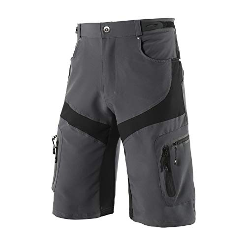 Pantalones Cortos de MTB,Sueltos Secado Rápido Ajustable Bicicleta de Carretera Shorts para Hombre,con 6 Bolsillos para Deporte al Aire Libre y Ciclismo(Size:SG,Color:Gris)